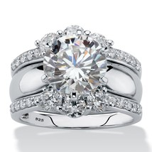 4.66 TCW Cubic Zirconia Platinum over Silver 2-Piece Jacket Wedding Ring... - $109.82