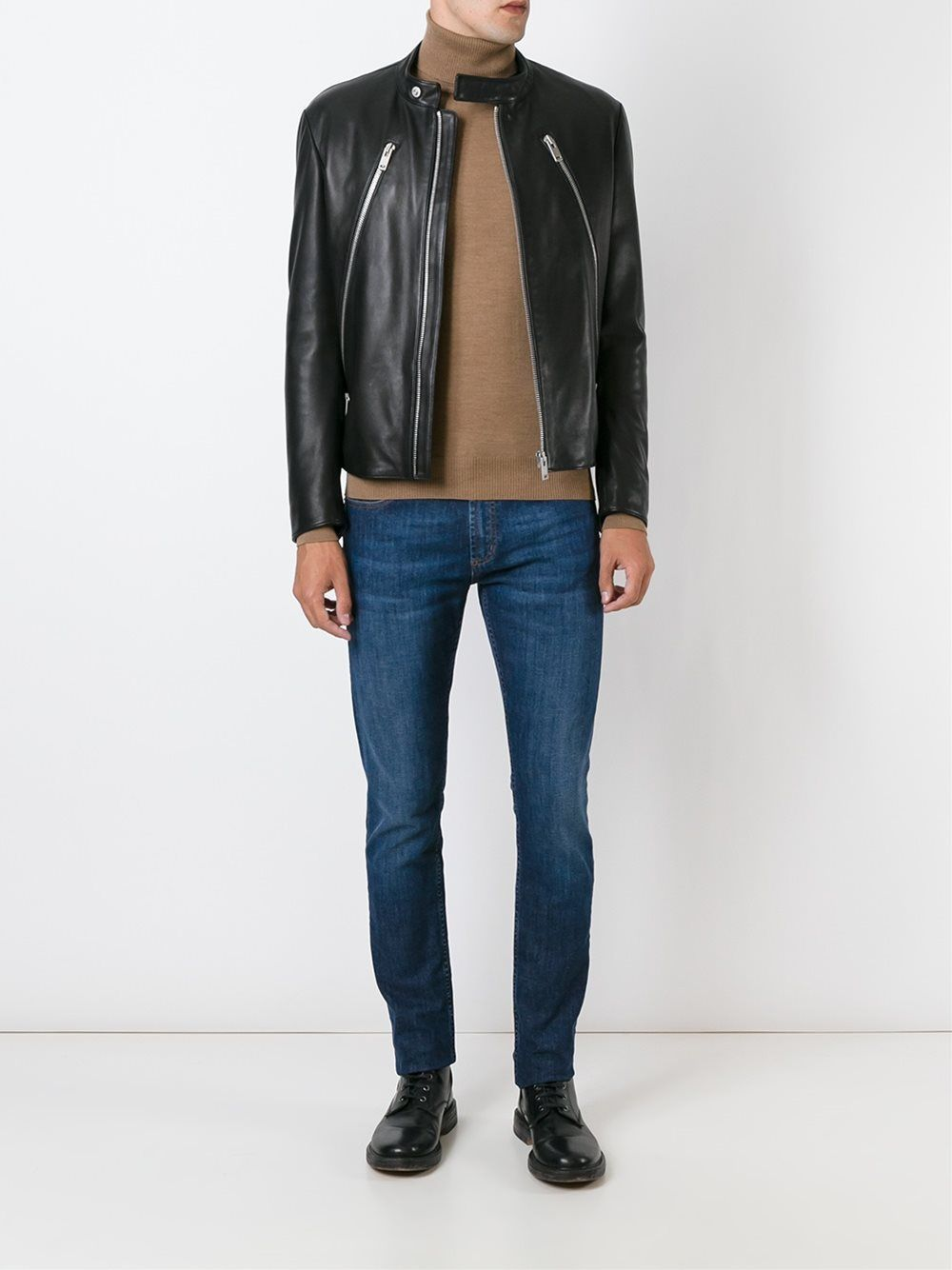 New Men's Genuine Lambskin Leather Jacket  Slim fit Biker Motorcycle jacket-G22