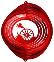 12 in stainless steel red Pheasant USA 3D hanging yard wind spinner, spinners - $32.00