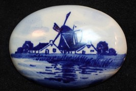 Vintage Dutch Holland Windmill Porcelain Brooch Pin - $12.86