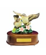 Sparrow figurine sculpture bible verse music box porcelain flower bird G... - $94.05