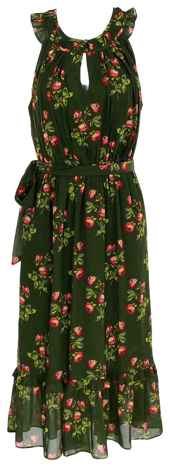 J Crew Women's Point Sur High-Neck Ruffle Floral Dress Chiffon 4 J5088