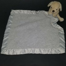 Barefoot Dreams CozyChic Tan Puppy Dog Lovey Gray Security Blanket Baby ... - $29.65