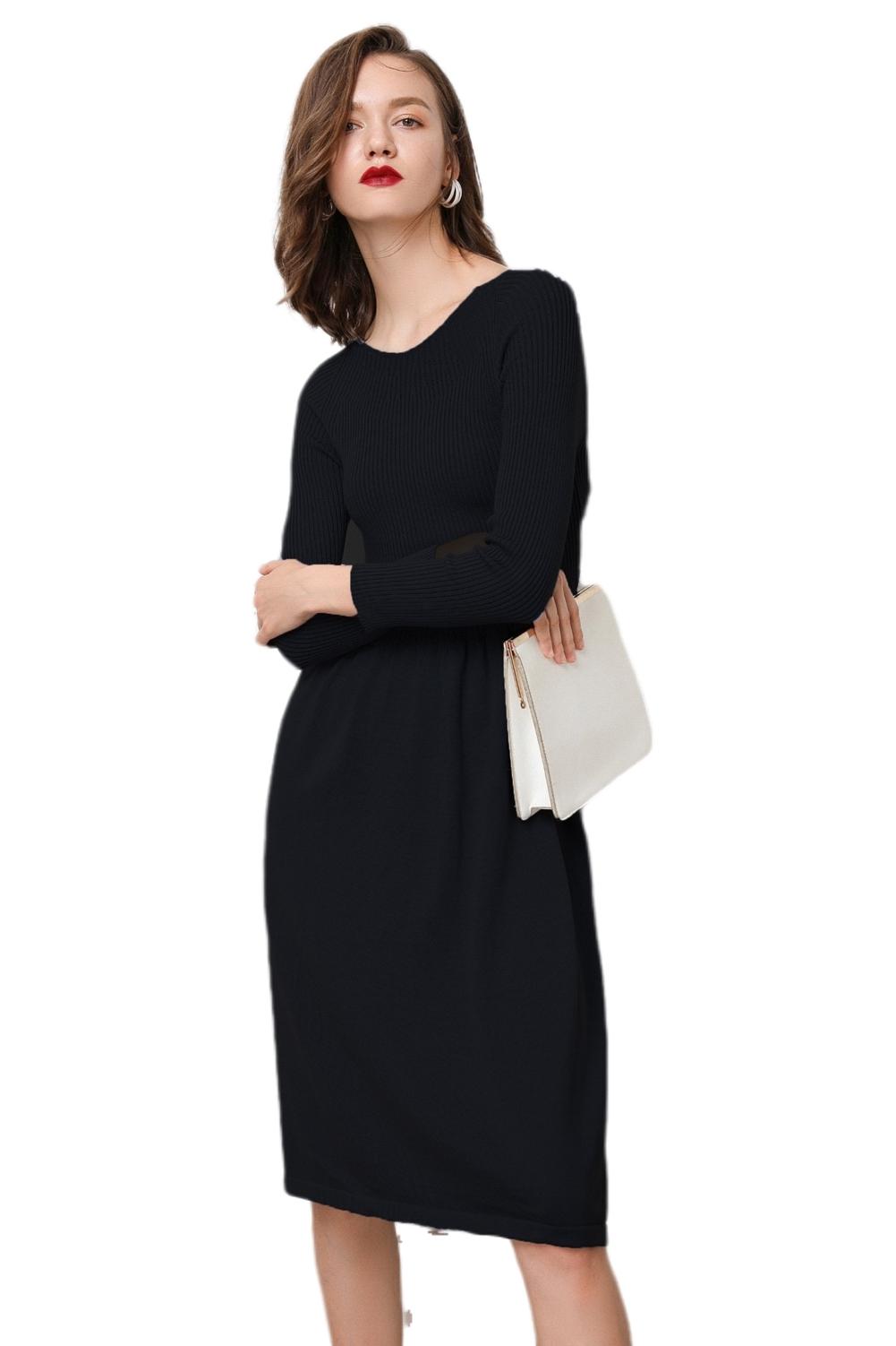 RanRui Knit Dress Fall&Winter Dresses Women's Cashmere Boat Neck Ribbed Elbow fi