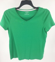 Talbots Tee Womens Top Plus Size X Green Solid Pima Cotton V Neck Womens - $11.88