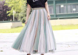 Pastel Rainbow Tulle Skirt Womens Plus Size Rainbow Maxi Skirt Pleated Stripe image 3