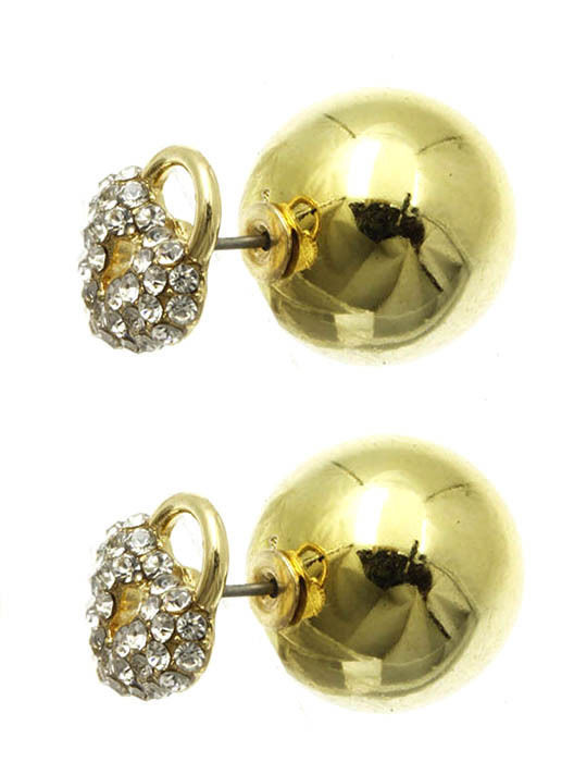 Rhinestone Crystals Heart Shaped Lock Padlock Ball Earrings Double Sided Goldton