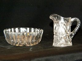 Etched glass candy dish and miniature pitcher AA19-LD11941 Vintage 2 pieces image 5
