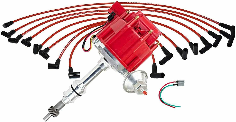 Ford HEI Distributor 351W Windsor 351W One-Wire Installation 8mm Spark Plug Kit