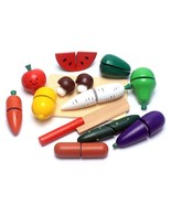 Wooden Vegetable Kids Toy Set Kitchen Cutting Fruits Pretend Play Food T... - $23.36