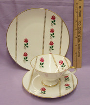 CHINA CUP SAUCER DESSERT PLATE RED ROSES GOLD BAVARIA - $20.74