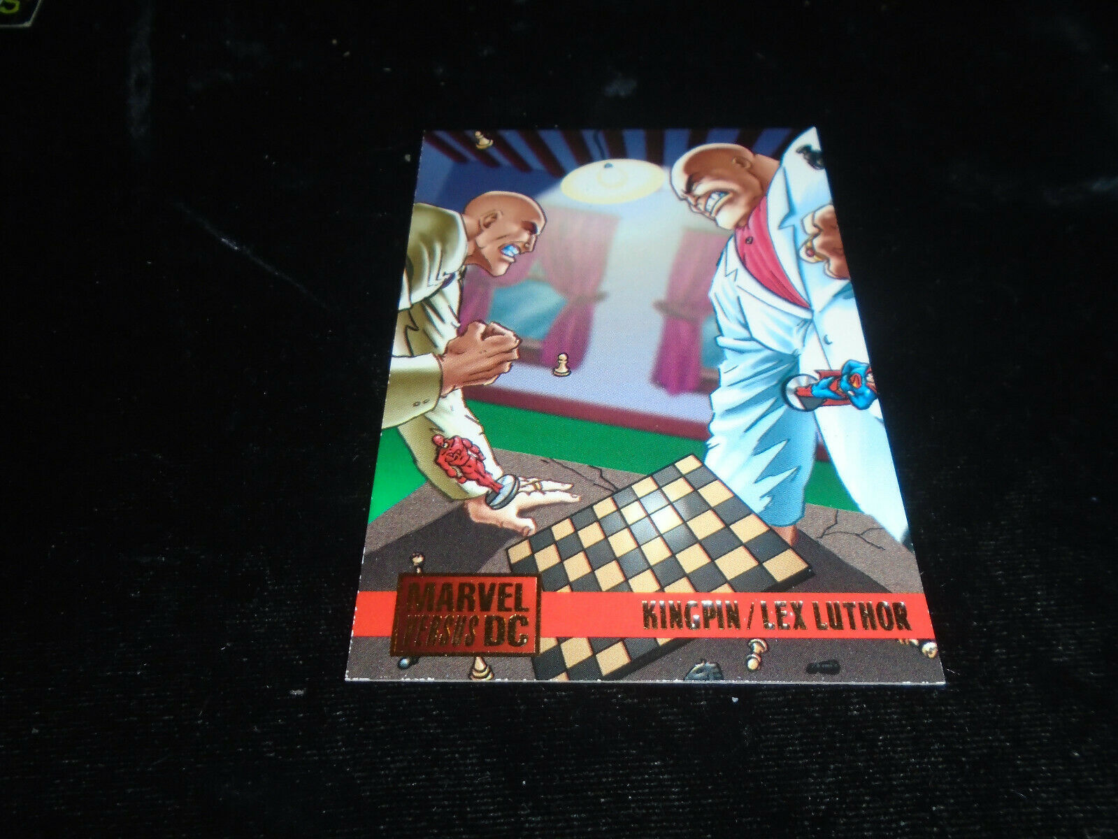 1995 DC Versus Marvel Fleer SkyBox Card #97 Kingpin Vs. Lex Luthor image 1