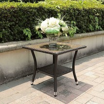 Square Rattan Wicker End Table Brown Tinted Glass Top Patio Outdoor Garden Side - $79.95