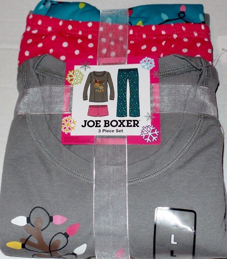 Womens Joe Boxer 3 Piece Reindeer Pajama Set and similar items