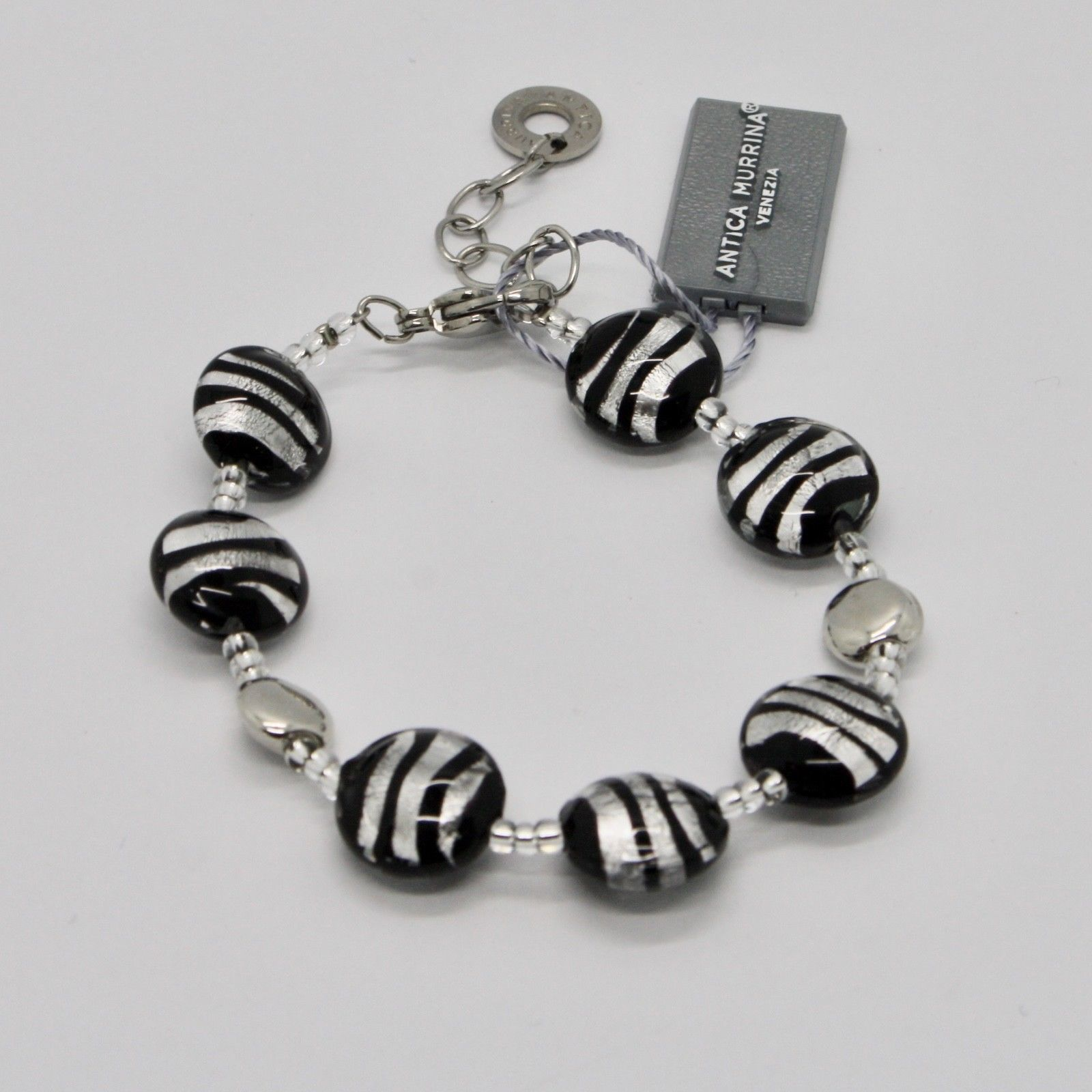 ANTICA MURRINA VENEZIA BRACELET WITH MURANO GLASS BLACK SILVER GRAY BR297A15