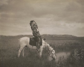 Oglala warrior Red Hawk sits on a horse in the Badlands South Dakota Pho... - $8.81+