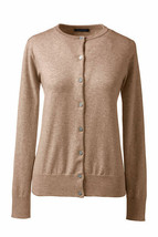 Lands End  Women's LS Supima Crew Cardigan Sweater Vicuna Heather New - $24.99