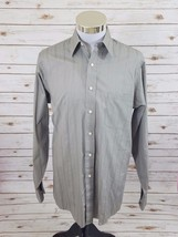 Editions by Van Heusen Men's Button Down Dress Shirt Gray Striped Sz 15.... - $14.84