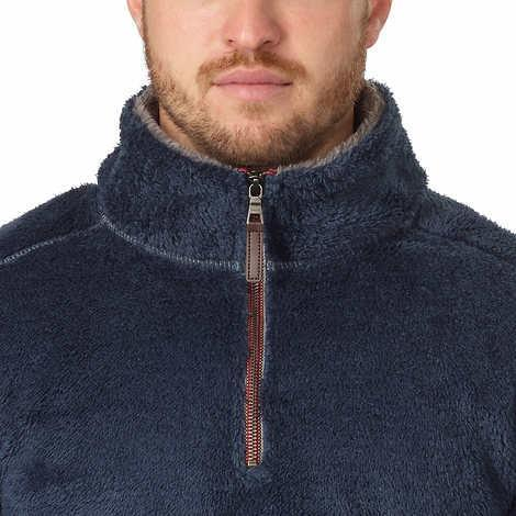Trinity Mens Sweater Navy Blue Charcoal Pullover Plush 1/4 Zip Soft Mock Neck
