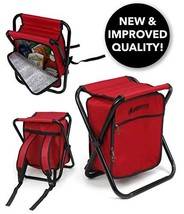 Folding Cooler and Stool Backpack - Multifunction Red Collapsible Campin... - £23.92 GBP