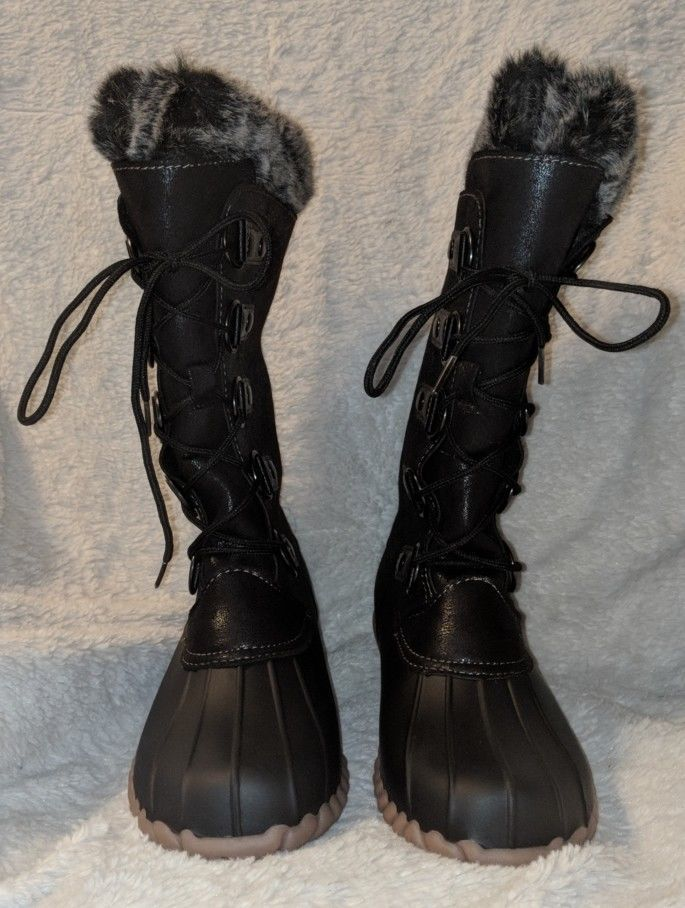 YUU Fiona Black Winter Snow Boots With White And Grey Fur
