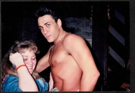 Vintage Photograph Woman Standing With Sexy Shirtless Man - $7.92