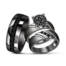Diamond Engagement Ring Wedding Band Trio Set 18k Black Gold Plated 925 ... - $158.98