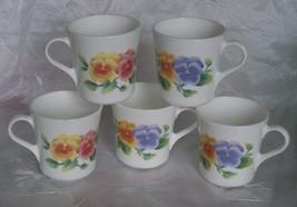 Corning Ware Summer Blush Pansy Coffee Mugs / Cups - Set 5 - USA- Vguc - $9.95