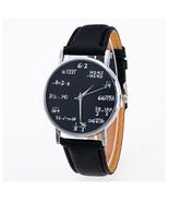 Round Mathematical Formula Women Watches Black Leather Smart Girls Wrist... - $5.99
