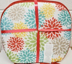 """Set of 4 CHAIR PADS CUSHIONS w/ red strings, 15""""x15"""", COLORFUL ROUND FLO... - $23.75"""