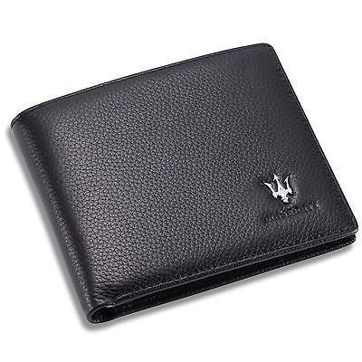 new Maserati Black Bifold Wallet Genuine Calfskin Leather with 6 Credit Card Men for sale  USA