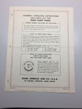 Sears Paint Tanks Assembly, Operating, and Parts List Manual - $12.09