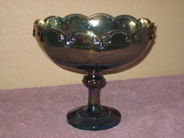 Vintage Blue Carnival Glass Footed Pedestal Compote Bowl By Indiana Glass - $19.75