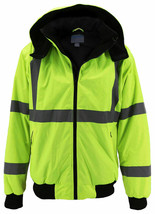 Men's Class 3 Safety High Visibility Water Resistant  Work Jacket w/ Defects 4XL image 1