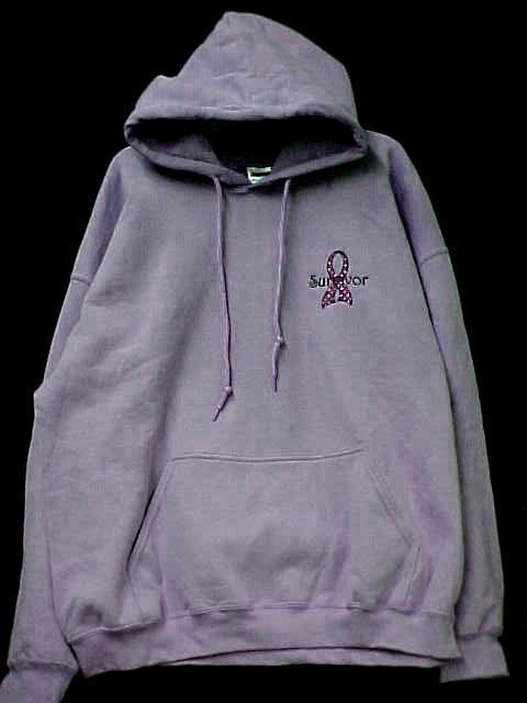 Purple Ribbon Sweatshirt XL Hoodie Polka Dot Survivor Lilac Hooded Blend New