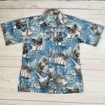 Go Barefoot Mens M Hawaiian Aloha Shirt Blue Tropical Floral Palm Tree Luau - $23.33