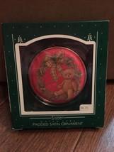 1986 New HALLMARK Ornament Red Satin SISTER with Teddy Bear QX3806 Mint ... - $3.76
