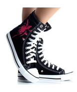 Women's Playboy Sneakers Bunny High Top Black Canvas Lace Up Skate Shoes... - $13.22