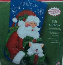 Dimensions Christmas Santa and Kitty Stocking Kit 8112 Feltworks Appilqu... - $48.33