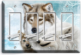 Wild Gray Wolf Family Winter 4 Gfi Switch Outlet Wall Plate Cover Room Art Decor - $19.79