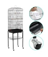 go2buy 2 in 1 Bird Cage Parrot Finch Carrier Cage with Stand and Wheels,... - $76.02
