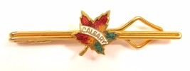 Vintage Red, Yellow & Green Enamel Gold Tone Maple Leaf Calgary Dress Cl... - $16.82