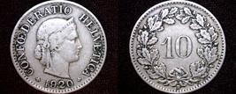 1920 Swiss 10 Rappen World Coin - Switzerland - $11.99