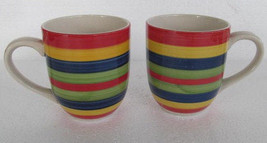 2 Hand Painted Swirl Design Multicolored Coffee Mugs Stonemite by Today'... - $21.99