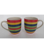 2 Hand Painted Swirl Design Multicolored Coffee Mugs Stonemite by Today'... - $18.99