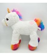 "Inter-American Products 14"" White Unicorn Plush w/ Rainbow Mane, Tail & Feet - £13.62 GBP"