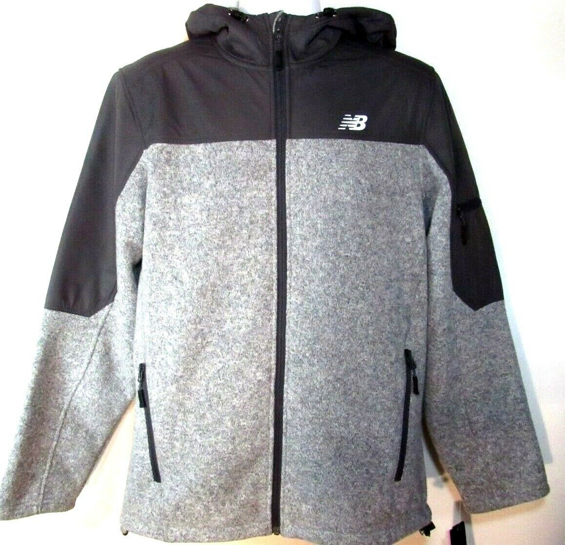 Primary image for NEW BALANCE MEN'S GRAY FLEECE FULL ZIP HOODED SWEATER, #NBMJ8401-HG