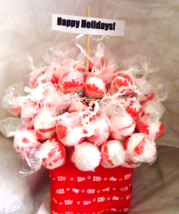 Edible Holiday Lollipop Bouquet - Christmas Tootsie Pop Bouquet - Candy Cane Too - $28.99+