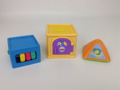 Primary image for Fisher Price Stacking Activity Blocks Lot of 3 Baby Infant Toddler Toys Learn