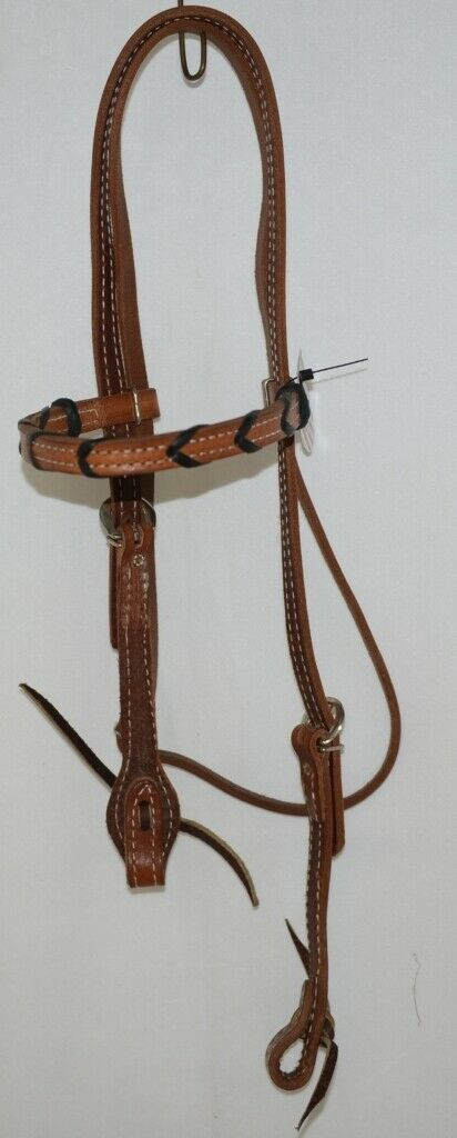 Pioneer Horse Tack 3852 Leather Headstall Reins Black Decorative Lacing